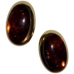 Halberstadt Willy Fagert 14 Karat Gold Orange Baltic Amber Earrings