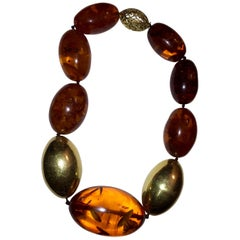 Halberstadt Willy Fagert 14 Karat Gold Orange Baltic Amber Oblong Bead Necklace