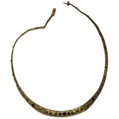 18 Karat Matte Gold Etruscan Style Gemstone Collar Necklace