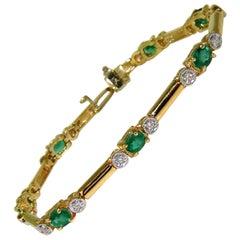 2.35 Carat Natural Emeralds Solid Bar Link Deco Diamonds Bracelet 14 Karat