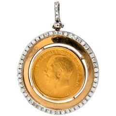 1911 British Georgivs V. D.G Britt OMN Rex FD IND IMP Diamonds Pendant 22Kt 14Kt