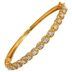1.37 Carat Rope Twist Encase Natural Round Diamonds Bangle Bracelet 14 Karat