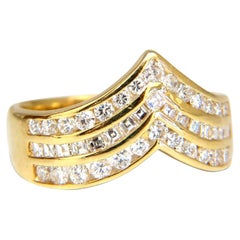 1.40 Carat Diamonds Multirow Chevron Channel Set Ring 18 Karat