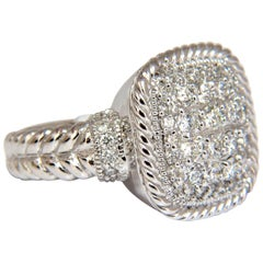 1.36CT Natural Diamond Double Shank Rope Twist Square Dome Ring 14KT G/VS