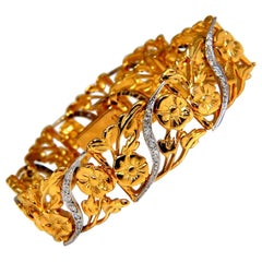 .40 Carat Diamonds Floral Vine Bracelet 14 Karat