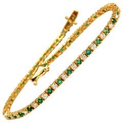 2.50 Carat Green Natural Emerald Diamonds Tennis Bracelet 14 Karat G/VS