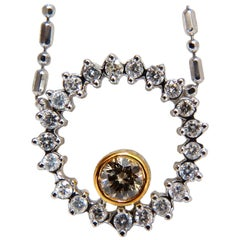 1.02 Carat Fancy Color Natural Yellow Brown Diamond Circle Eternity Necklace