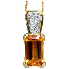 20.50 Carat Natural Citrine Necklace 14 Karat