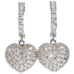 1.30 Carat Dangling Hearts on Hoop Diamonds Earrings 14 Karat g/vs Locking Lever
