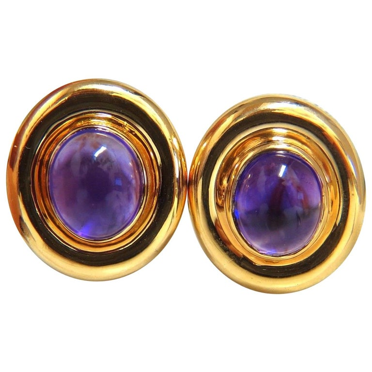 12 00 Natural Amethyst Clip Earrings 14 Karat For
