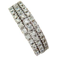 1.23 Carat Diamonds Band Ring H/VS Classic Three Rows 14 Karat