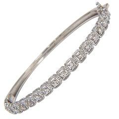 .90 Carat Squared Rope Twist Encase Natural Diamonds Bangle Bracelet 14 Karat