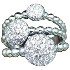 0.76 Carat Diamonds White 18 Karat Gold Three Spheres Sections Ring