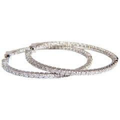 1.36 Carat Natural Round Brilliant In/Out Diamond Hoop Earrings 14 Karat G/Vs