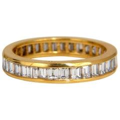 1.80 Carat Natural Baguette Diamonds Eternity Ring 14 Karat H/Vs-2