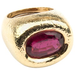 David Webb 18k Yellow Gold Tourmaline Rubelite Cocktail Ring