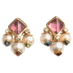 Marina B 'Bulgari' Tourmaline and Cultured Pear Earrings 'Aquila'