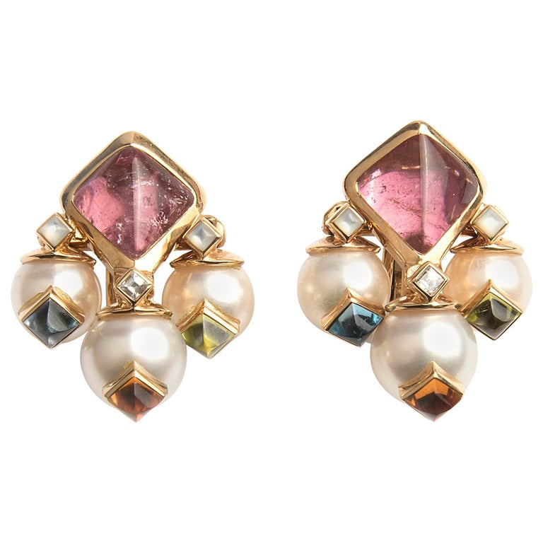 Marina B 'Bulgari' Tourmaline and Cultured Pear Earrings 'Aquila' For Sale