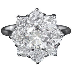 Antique 2 Carat Diamond Cluster Ring Engagement Ring 18 Carat, circa 1915