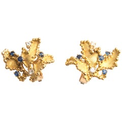 Boucheron 18k Yellow Gold Blue Sapphire and Diamond Leaf Earrings