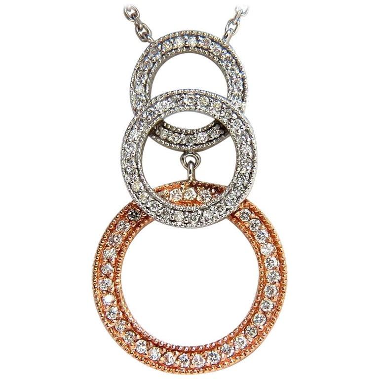 1.12 Carat Natural Diamonds Three Circles Dangling Necklace 14 Karat