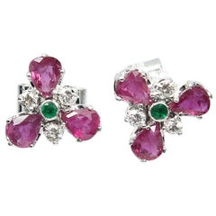 Modern Art Deco Style Platinum 2 Carat Ruby, Diamond and Emerald Earrings