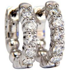 .90 Carat Natural Round Brilliant In/Out Diamond Hoop Earrings 14 Karat G/Vs