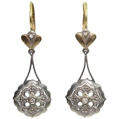 Antique Edwardian 18 Karat Gold Diamond Earrings