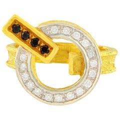 Sacchi Black and White Diamonds Gemstones 18 Karat Yellow Gold Cocktail Ring