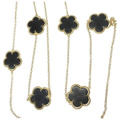 8.34 Carat Black Onyx Flower Necklace