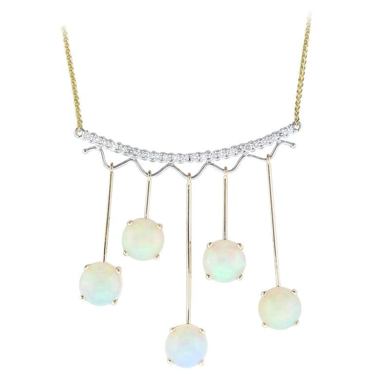 5.97 Carat Opal and White Diamond Pendant