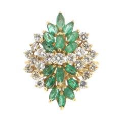 Emerald 18 Carat Yellow Gold Diamonds Cocktail Ring