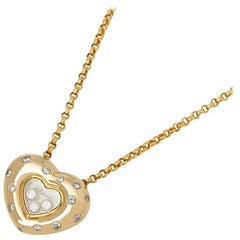 Chopard 18 Karat Yellow Gold Happy Diamonds Spotted Heart Pendant Necklace