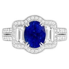 GAL Certified 1.44 Carat Oval Cut Blue Sapphire and Diamond Cocktail Ring