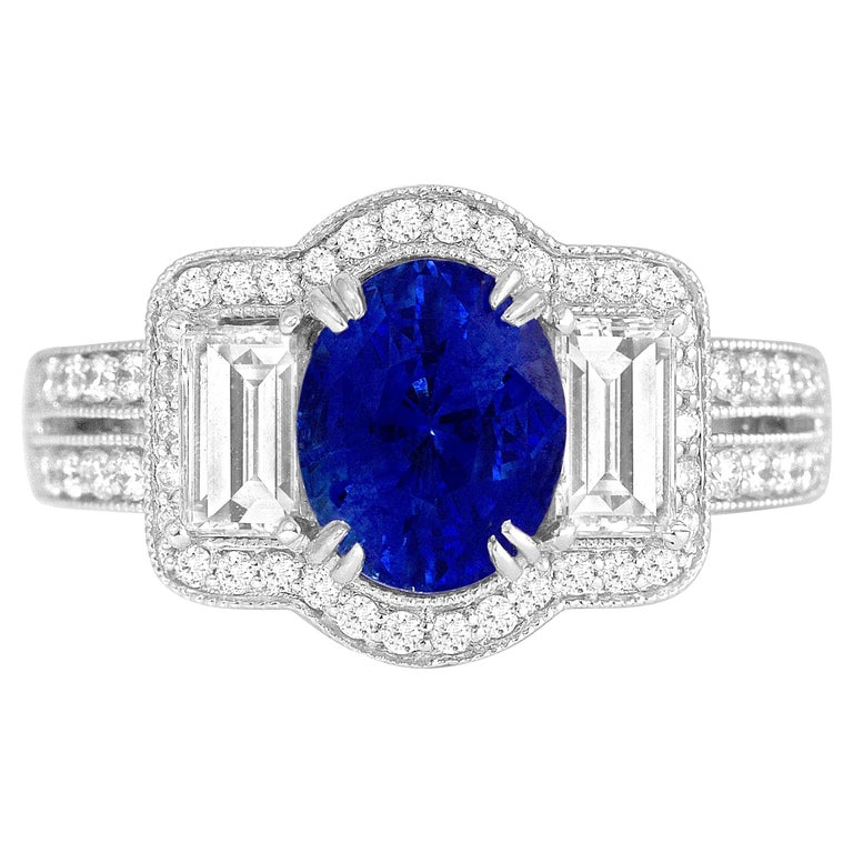 GAL Certified 1.44 Carat Oval Cut Blue Sapphire and Diamond Cocktail Ring For Sale