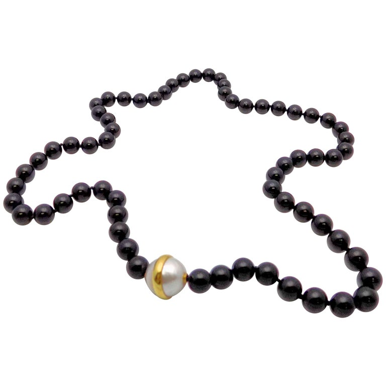 Paloma Picasso for Tiffany & Co. Black Onyx Bead and Mabe Pearl Necklace For Sale