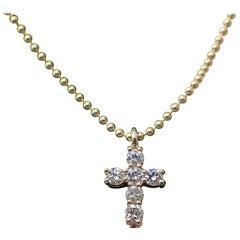 14 Karat Yellow Gold Tiny Cross with 0.30 Carat of Diamond on Bead Chain
