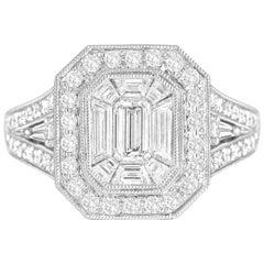 2.23 Carat Diamond Cluster Bridal Engagement Ring in 18 Karat White Gold