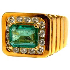 Men's Pinky 3.20 Carat Natural Emerald Diamonds Ring 14 Karat