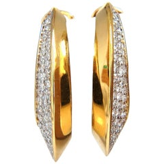 1.00 Carat Natural Round Diamonds Elongated Inside Out Hoop Earrings 18 Karat