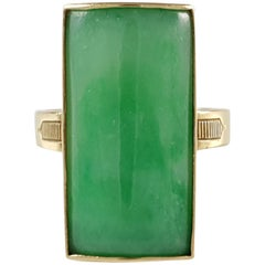Bernard Instone 18 Karat Yellow Gold Apple Green Jade Ring