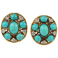 Natural Turquoise Diamond Estate Earrings