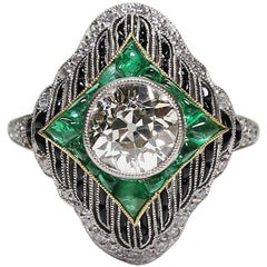 Antique Art Deco Platinum 1.66 Carat Diamond - Emerald and Onyx Ring