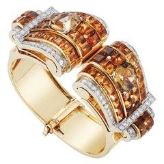 A Detachable Citrine and Diamond Retro cuff Bracelet