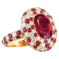 Fine Non-Heated Burma Ruby Ring Set with Diamonds and Rubies