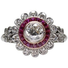 Modern Art Deco Style Platinum Diamond and Ruby Ring