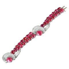 Unheated Burmese cabochon ruby and diamond bracelet