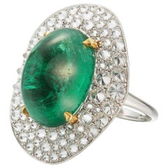 """Cabochon Emerald and Diamond """"Potato Chip"""" Ring Designed by Carvin French"""