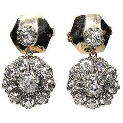Antique Victorian 18 Karat Gold Diamond Earrings