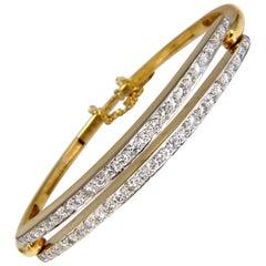 2.21 Carat Diamonds Double Row Link Bangle Bracelet 18 Karat